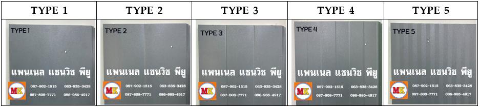 แพนเนล พียูโฟม สีเทา มีลายบนแผ่นให้เลือก 5 แบบ (Type)