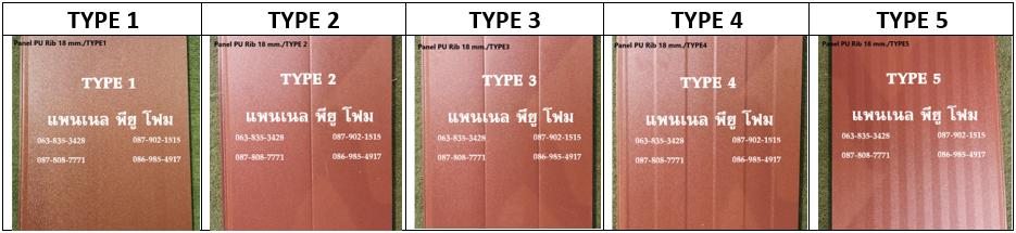 แพนเนล พียูโฟม สีน้ำตาลทราย มีลายบนแผ่นให้เลือก 5 แบบ (Type)